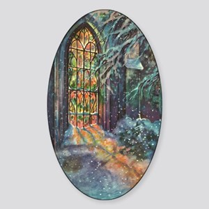 Vintage Church Stained Glass Window Sticker (Oval)