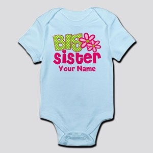 Big Sister Pink Green Personalized Body Suit