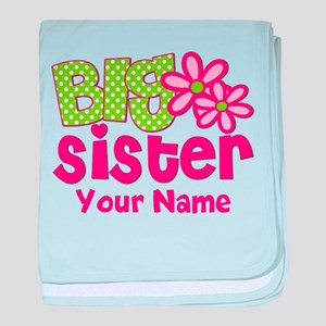 Big Sister Pink Green Personalized baby blanket