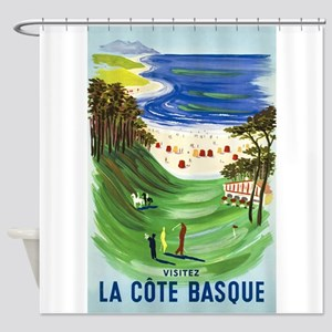Golf, France, Travel, Vintage Poster Shower Curtai
