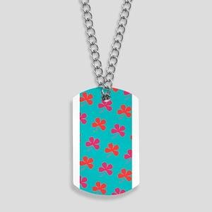Red Pink Green 4 Leaf Clover Designer Dog Tags