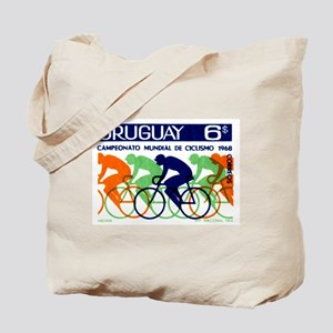 1969 Uruguay Racing Cyclists Postage Stamp Tote Ba