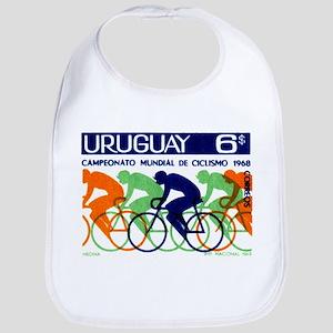 1969 Uruguay Racing Cyclists Postage Stamp Bib