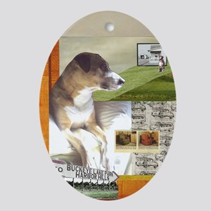 Pit Bull Mix Oval Ornament