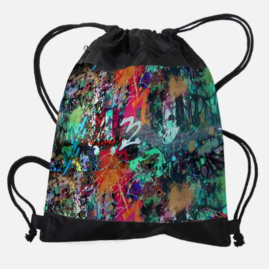 Graffiti and Paint Splatter Drawstring Bag