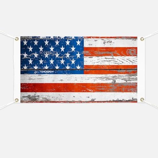 Primitive barnwood American Flag Banner