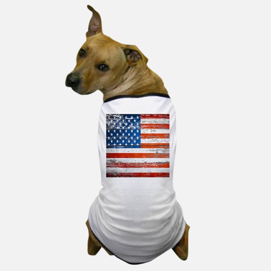 Primitive barnwood American Flag Dog T-Shirt