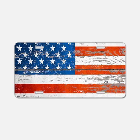 Primitive barnwood American Aluminum License Plate