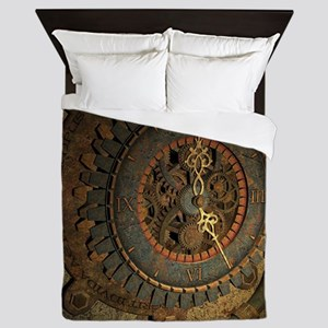 Steampunk, awesoeme clock, rusty metal Queen Duvet