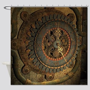 Steampunk, awesoeme clock, rusty metal Shower Curt