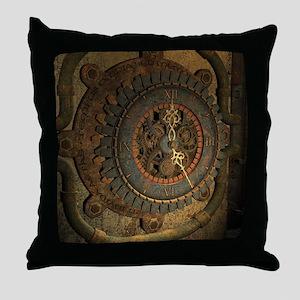 Steampunk, awesoeme clock, rusty metal Throw Pillo