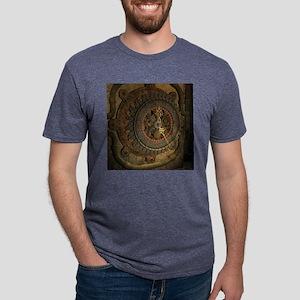Steampunk, awesoeme clock, rusty metal Mens Tri-bl