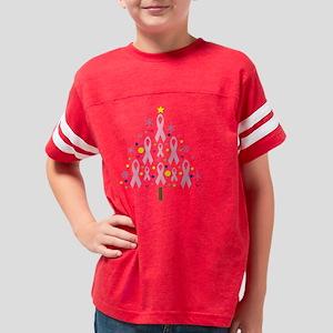 Pink Ribbon Christmas Tree Br Youth Football Shirt