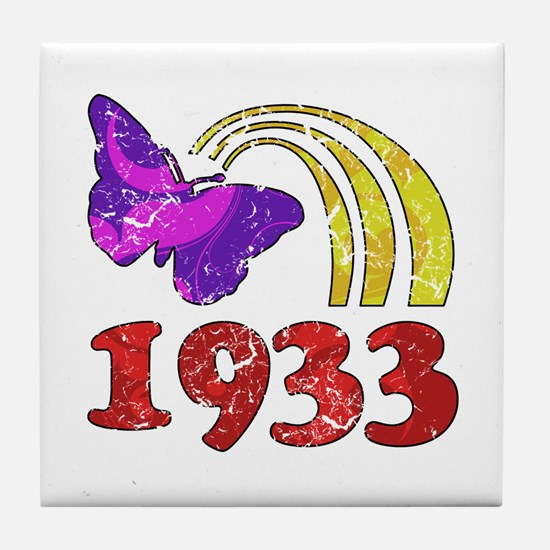 1933 Birthday (Colorful) Tile Coaster