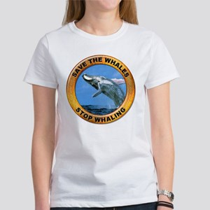 Save Whales Stop Whaling (Front) Women's T-Shirt