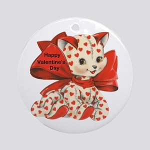 Cat- Happy Valentine's Day Ornament (Round)