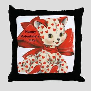 Cat- Happy Valentine's Day Throw Pillow