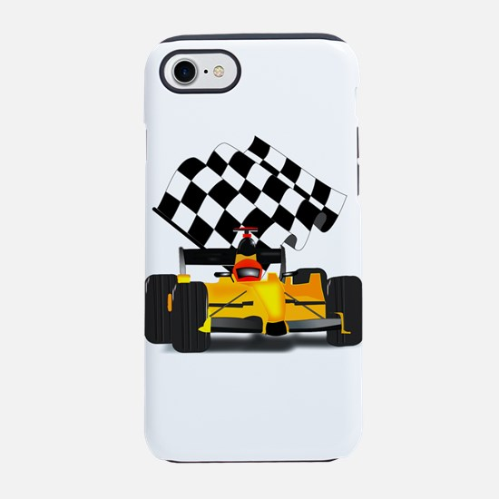 Yellow Race Car with Checkered iPhone 7 Tough Case