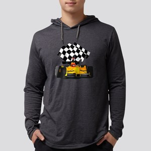 Yellow Race Car with Checkered F Mens Hooded Shirt