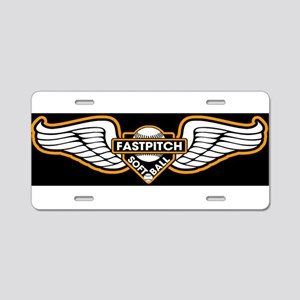 Fastpitch Wings Blk 10x3 Aluminum License Plate