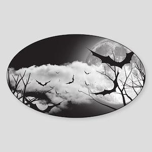 Bats in the Moonlight Sticker (Oval)