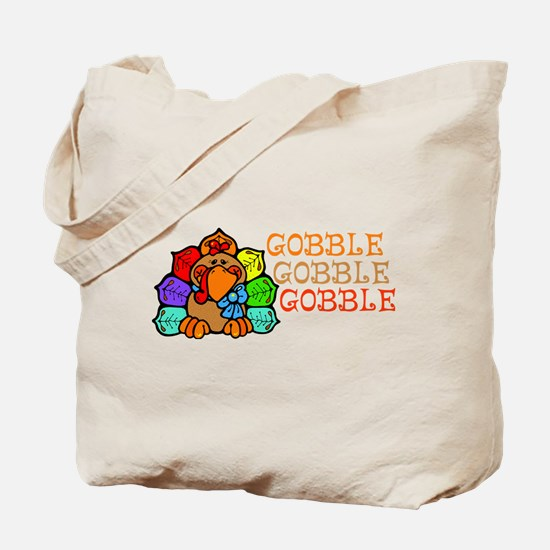 Gobble Gobble Gobble Colorful Turkey Tote Bag
