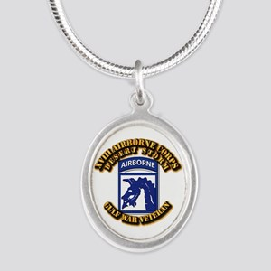 Army - DS - XVIII ABN CORPS Silver Oval Necklace