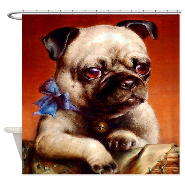 Bowtie Pug Puppy Shower Curtain By Aaanativearts