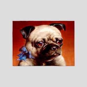 Bowtie Pug Puppy 5'x7'Area Rug