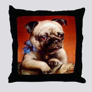 Bowtie Pug Puppy Throw Pillow