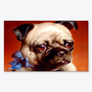Bowtie Pug Puppy Sticker (Rectangle)