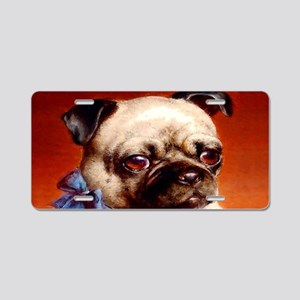 Bowtie Pug Puppy Aluminum License Plate