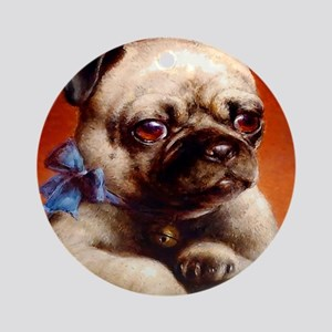 Bowtie Pug Puppy Ornament (Round)