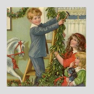 Vintage Christmas Children Tile Coaster
