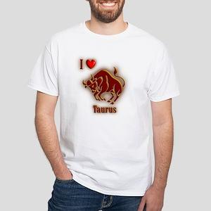 I Love Taurus White T-Shirt