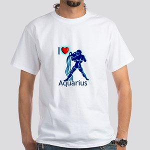 White I Love Aquarius T-Shirt