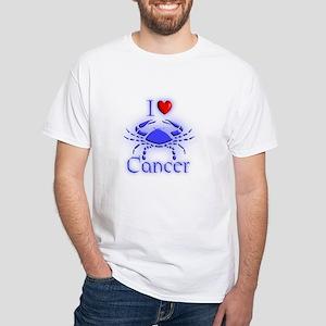 White I Love Cancer T-Shirt