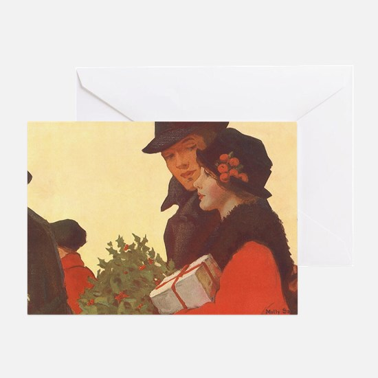 Vintage Christmas Shopping Greeting Card