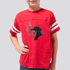 Rottweiler Head Study  floral Youth Football Shirt
