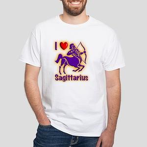 White I Love Sagittarius T-Shirt