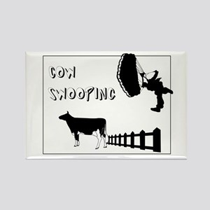 Cow Swooping Skydiving Rectangle Magnet