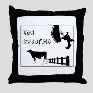 Cow Swooping Skydiving Throw Pillow