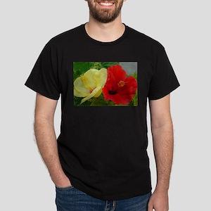 Red and Yellow Hibiscus Dark T-Shirt