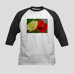 Red and Yellow Hibiscus Kids Baseball Jersey