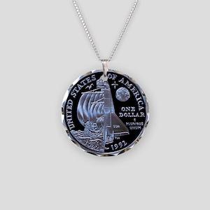 Columbus Silver Dollar Necklace Circle Charm