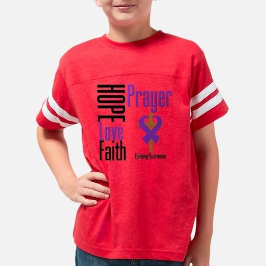 Epilepsy Hope Love Faith Pray Youth Football Shirt