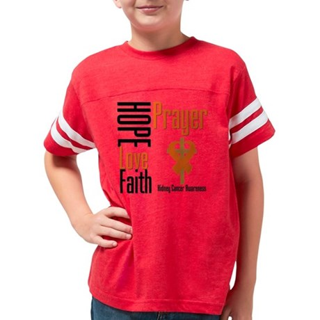 Kidney Cancer Hope Love Faith Youth Football Shirt