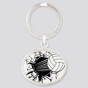 Volleyball Oval Keychain