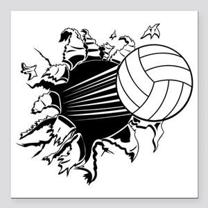 "Volleyball Square Car Magnet 3"" x 3"""