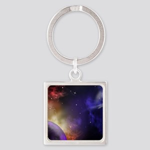Universe with Planet and Stars Square Keychain